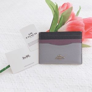 BNWT Coach colorblock card case wallet multi color